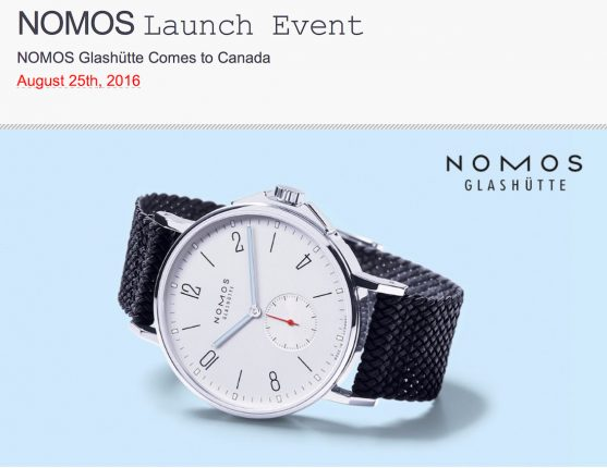 INVITE: Nomos Watches London Replica Watches Now In Vancouver - August 25, 2016, Event At Roldorf+Co With aBlogtoWatch Shows & Events
